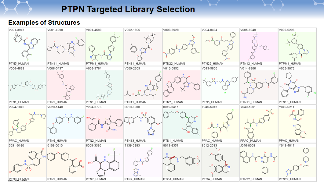 PTPN Targeted Library Selection_examples of structure
